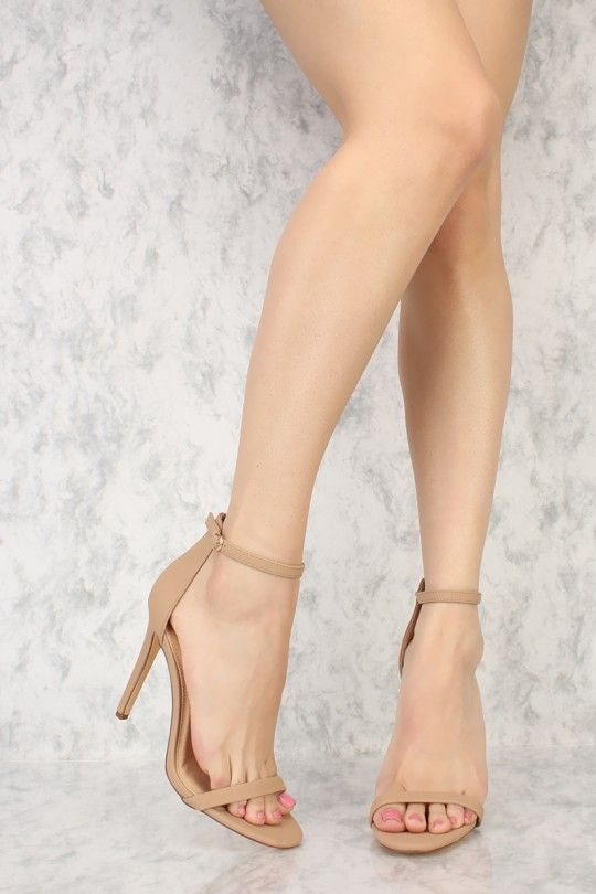 27988cf7f868 Nude Ankle Strap Closure Single Sole High Heels Nubuck