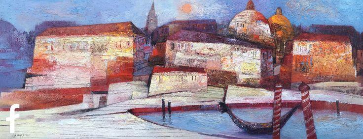 Gianni Gueggia olio su tela - paesaggio citta sul mare al mattino - artista e pittore professionista