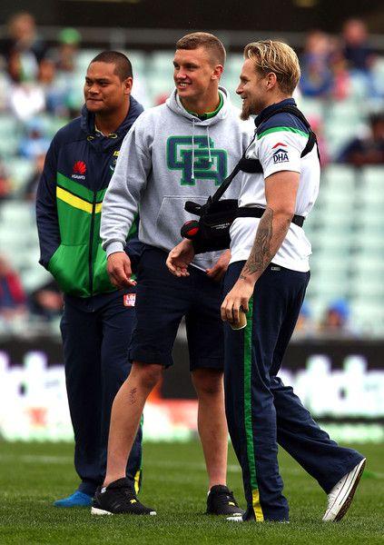 2015 NRL Rd 26 - Eels v Canberra Raiders - Joey Leilua, Jack Wighton, Blake Austin