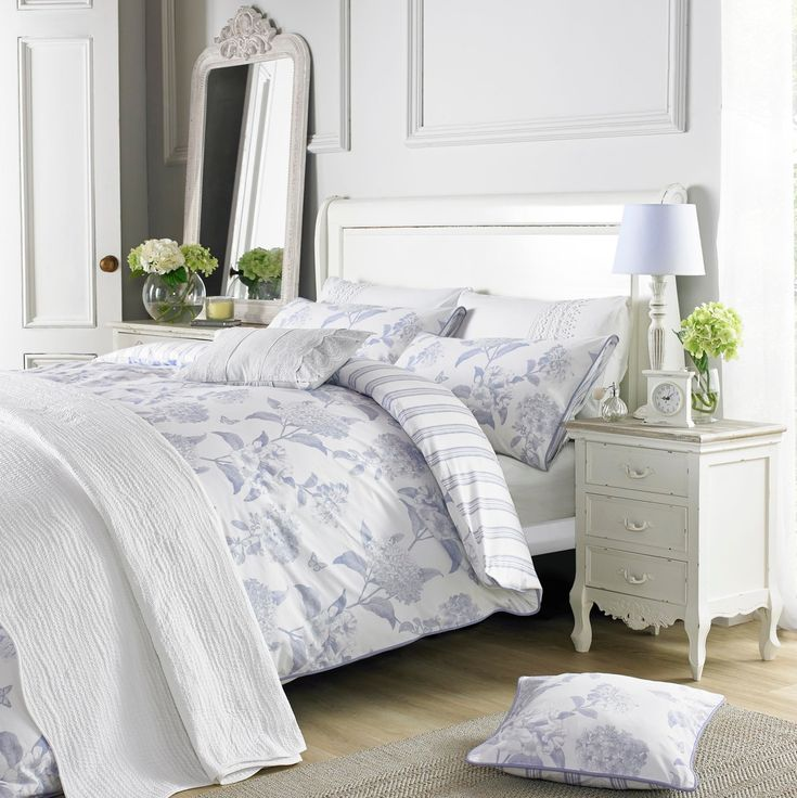 """Gorgeous blue and white floral bedding from Holly Willoughby Bedding is absolutely gorgeous!  """"Rene Blue"""" is so delicate and yet so striking in its design and ever so classic Holly style!  Available in single, double, king or king size duvet cover - matching pillowcases and scatter cushions are also available.  Free UK Delivery too!"""