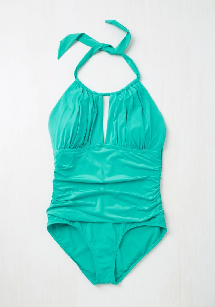Working Tidal One-Piece Swimsuit in Turquoise - 1X-3X. Searching for a name for your latest beachfront epic, you turn to this turquoise blue one-piece by Kenneth Cole for inspiration. #blue #modcloth