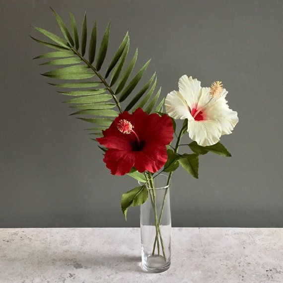 Crepe Paper Tropical Bouquet: Hibiscus and Palm by NectarHollow