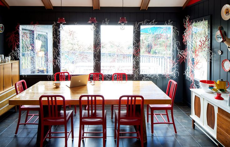 A Colorful Getaway @fab NYTimes.com: Dining Rooms, Interior Design, B Dining Room, Design Interiors, Interior Windows, Dining Living Room, Space, Coral Esque Windows