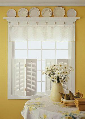 DIY Kitchen Window Treatments - lower shutters plus valance. Also plate shelf.