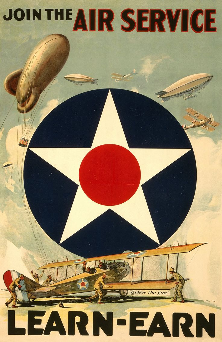 Join The Air Service--Learn-Earn / W.Z. ; Forbes, Boston. Poster Showing The Air Service Insignia, Various Aircraft Including Airplanes And Dirigibles, And A Crew Tending To A Plane In The Foreground.                                                                                                                                                                                 More