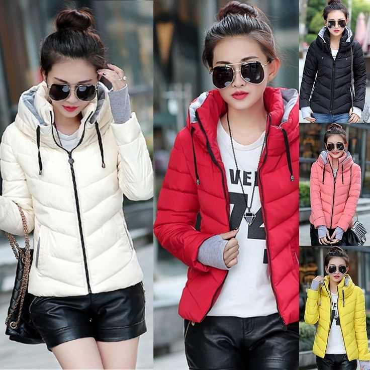 Women's Down Cotton Parka Short Fur Collar Hooded Coat Quilted Jacket Winter