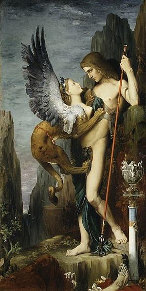 Edipo y la Esfinge de Gustave  Moureau