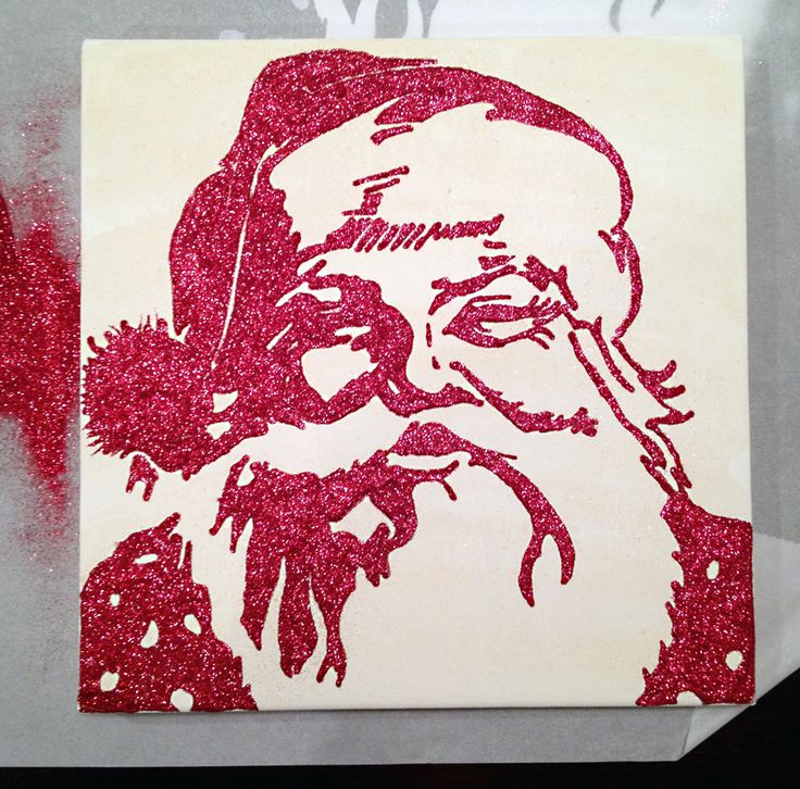 Glittered Santa canvas- love that u can do this with any image...thinking a big buck in gold glitter! ;)