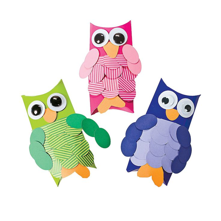 DIY Craft Pillow Box Owls - OrientalTrading.com