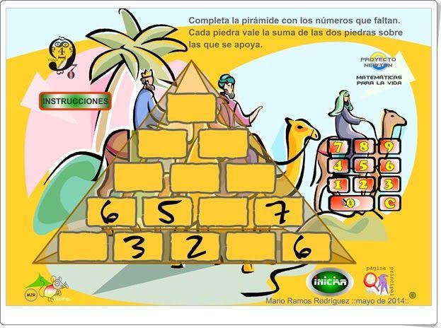 """Juegos Educativos Online Gratis: """"La pirámide de los números"""" (Eltanquematematico.e..."""