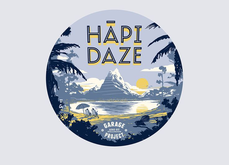 Beer Can / HĀPI DAZE ----- A tap badge design for Garage Project's Hapi Daze beer. Please Repin, or click this link to see more images from this project > http://www.flyingwhities.com/327640/4349642/recent-work/beer-can-hapi-daze