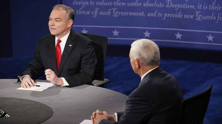 """""""Do you think the world today is a safer or more dangerous place than it was eight years ago? Has the terrorist threat increased or decreased?"""" debate moderator Elaine Quijano asked Sen. Tim Kaine (D-Va.) at Tuesday night's vice presidential debate in Virginia."""