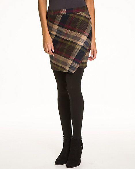 Check+Viscose+Blend+Faux+Wrap+Skirt
