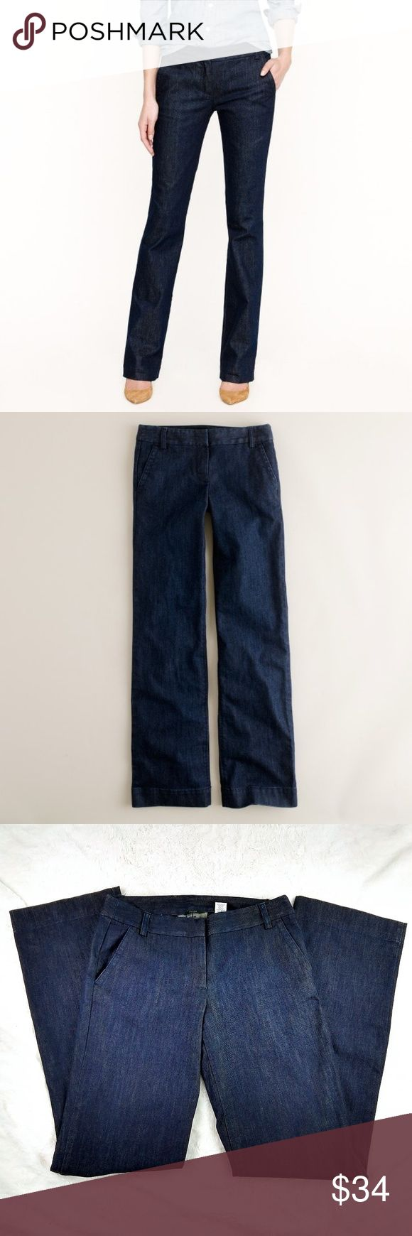 J. Crew Tall Trouser Jeans in classic rinse wash J. Crew Tall Trouser Jeans in classic rinse wash Our modern-girl trouser in a classic dark rinse and an exciting new Italian denim that we love for its saturated indigo and its pristine, polished look.  Italian cotton with a hint of stretch. Sits lower on hips. Fitted through hip and thigh, with a straight trouser leg. Machine wash. Item 29273.  Waist: 34in Hips: 42in Inseam: 36in Outerseam: 44.5in  Thanks for stopping by. J. Crew Jeans Flare…