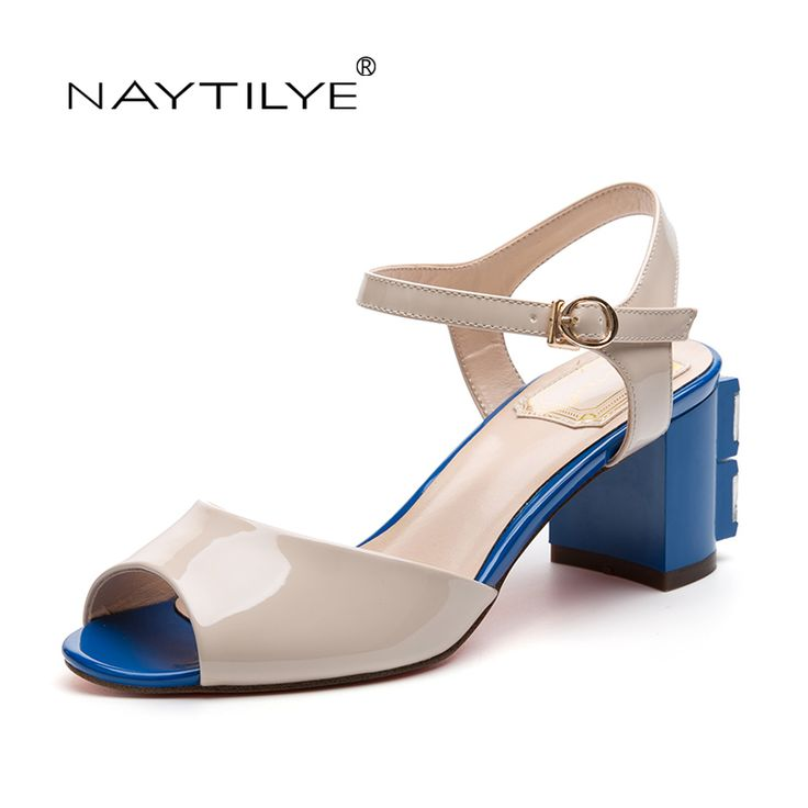 Woman Shoes 2017 PU ECO Leather High heels sandals for woman Fashion Summer Square heel 36-41 Free shipping NAYTILYE