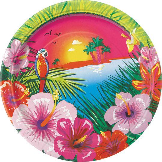 "7"" Luau Party Dessert Plates, 8ct"