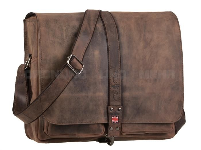Pride & Soul Mr. LIAM - Leder Laptop-Umhängetasche Notebooktasche Messenger - vintage braun