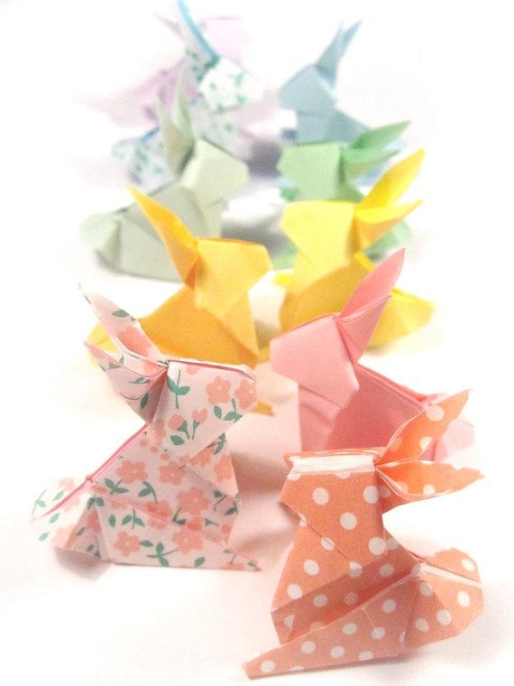 10 Origami Bunny Rabbits Rainbow Pastel Colors by bluepandemonium, $20.00