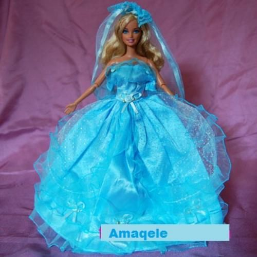Clothing - Barbie Clothes, Handmade, Blue Wedding Dress with Veil  by Amaqele in Johannesburg