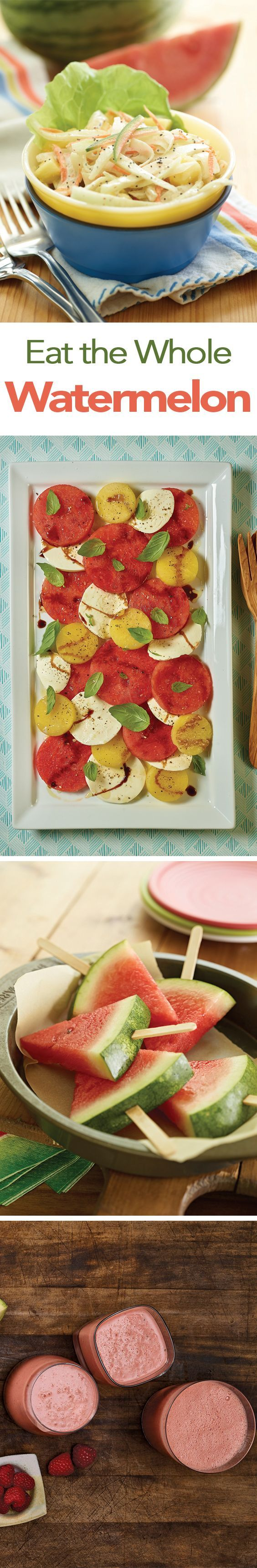 Watermelon is more than a sweet, juicy snack. Use it in recipes like Watermelon Rind Slaw, Watermelon Caprese Salad with Balsamic Vinegar Reduction, Watermelon Slice Ice Pops and Superfood Smoothie.
