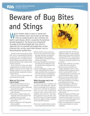 PDF Cover image - Beware of Bug Bites and Stings - Consumer Update. Click on the image to view the PDF