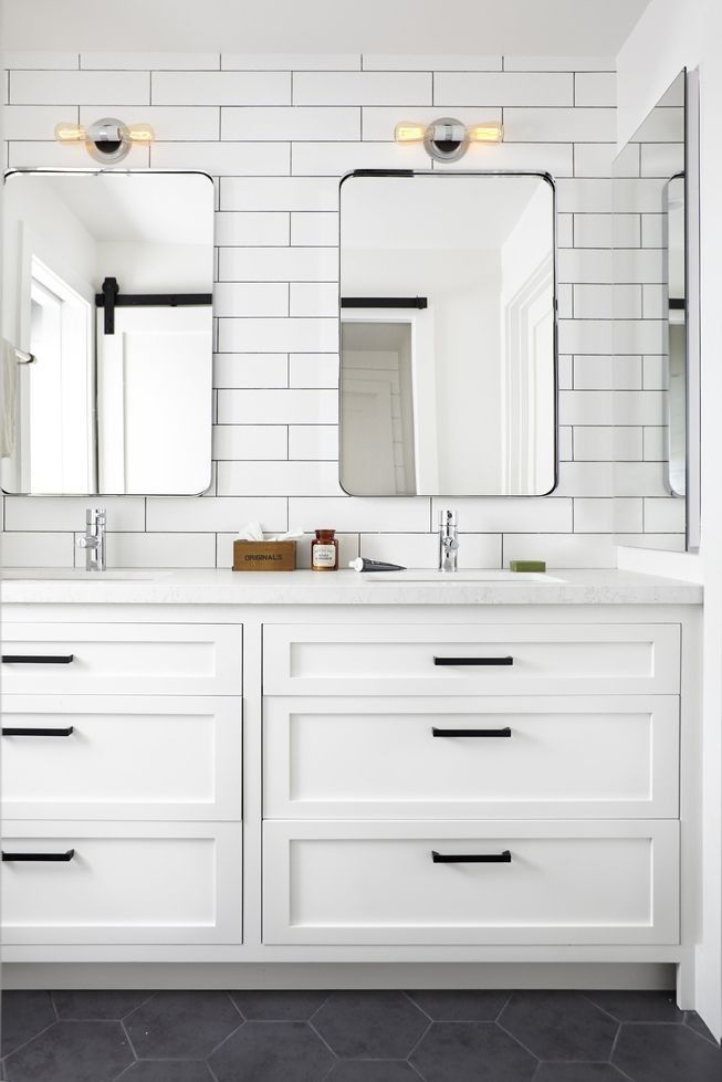 designer tips to create a modern farmhouse - Bathroom Subway Tile Backsplash