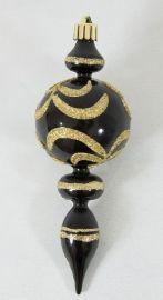 165mm Black pearl finial w/ gold glitter  Code: FINI016BLPGL