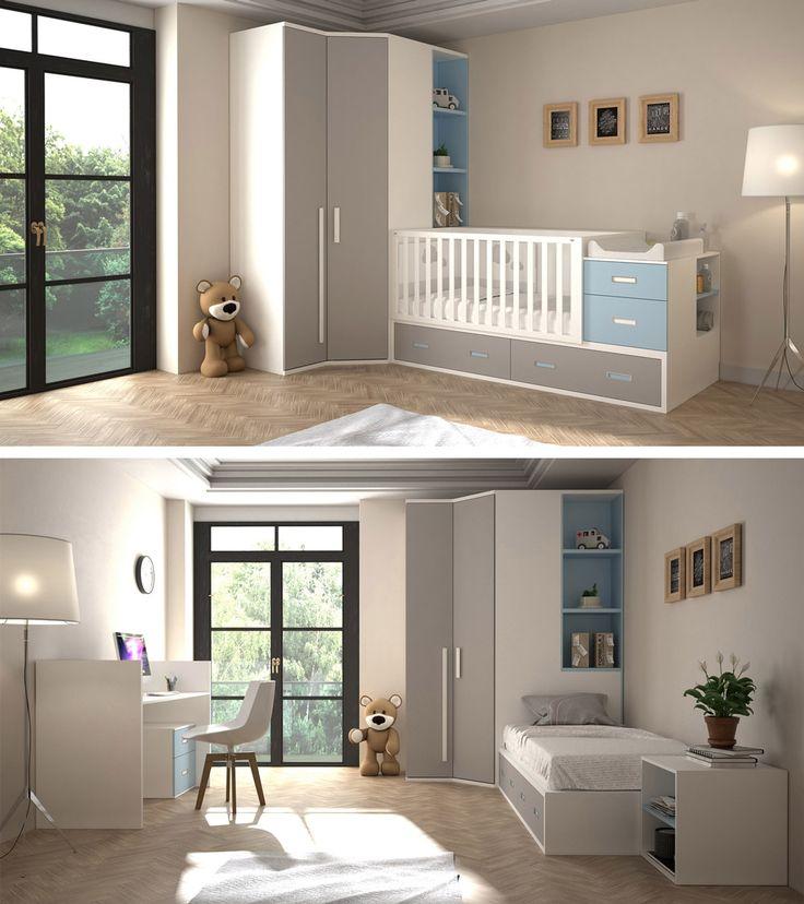 Cuna convertible con gran capacidad de almacenaje y cambiador incorporado. Su evolución a dormitorio juvenil da lugar a una bonita cama y una práctica zona de estudio.
