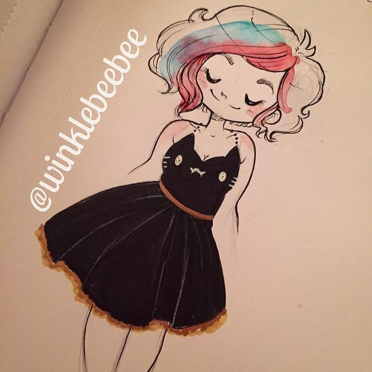 regram @winklebeebee October 29th #dailydrawing [Meow]. I wish I had this dress for real :( #art #artstagram #drawing #illustration #sketch #sketchbook #doodle #ink #copicmarkers #metallic #dailydrawing #kitty #design #in#igdraws #creative_instaarts #abeautifulmess