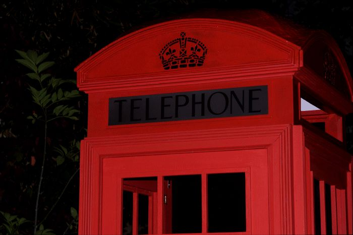 Red English telephone box in the making