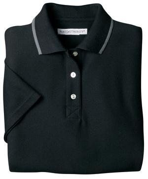 Port Authority Signature - Ladies Zephyr Mesh Sport Shirt with Tipping, XL, Black and Charcoal Port Authority. $15.99