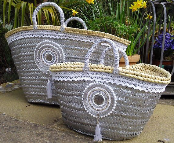 Embellished Beach Basket Bag Shopping Basket Boho by MariZoli - SOLD