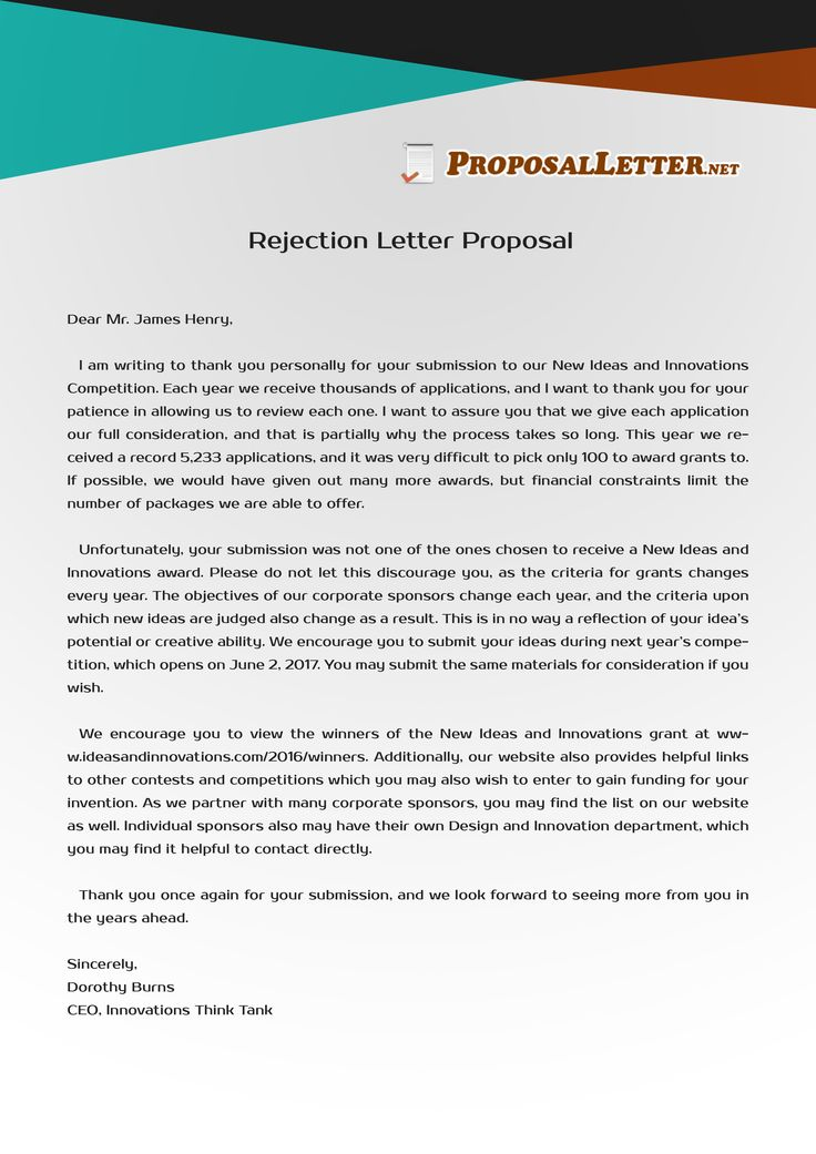 Having troubles with rejection letter proposal writing ? Check out - rejection letter