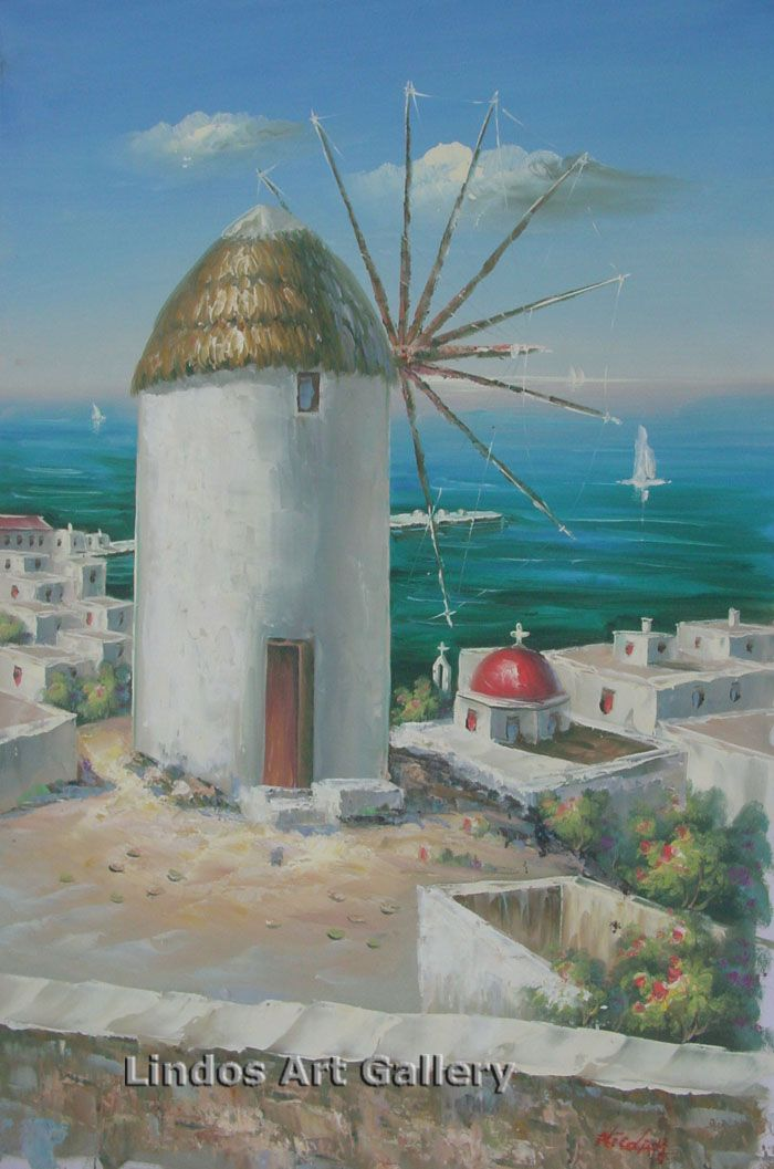 Greek Windmill and Red Church Oil Painting