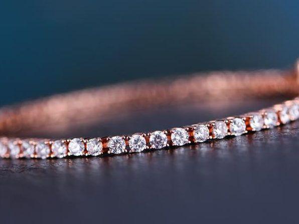 Classic Round Tennis Bracelet Ft 3mm Swarovski Crystals Rose Gold Mrs Necklace Swarovski Bracelet Tennis Bracelet