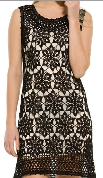 siyah motifli dantel elbise ve şeması   orgumodeller