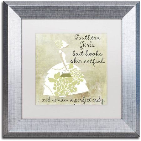 Trademark Fine Art Southern Belles Two Canvas Art by Color Bakery White Matte, Silver Frame, Beige