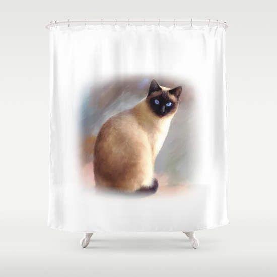 Shower Curtains, Art Shower Curtain Bathroom Bath Cat 613 siamese animal brown Home Decor L.Dumas by artbyLucie on Etsy