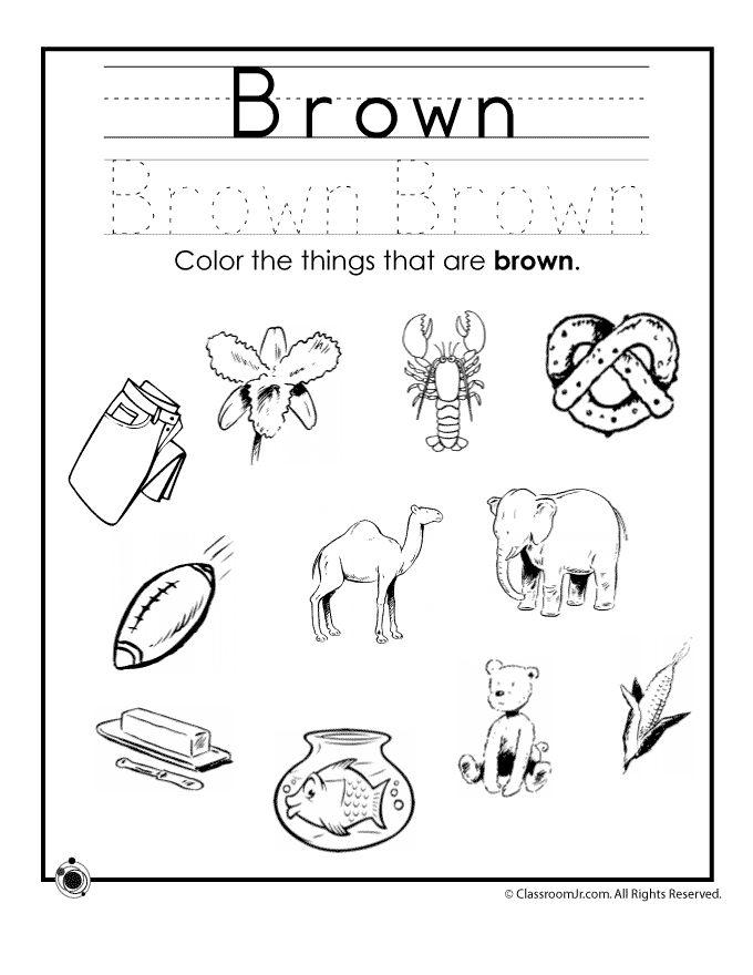 Learning Colors Worksheets for Preschoolers Color Brown Worksheet – Classroom Jr.  http://www.classroomjr.com/learning-colors-worksheets-for-preschoolers/brown-colors/