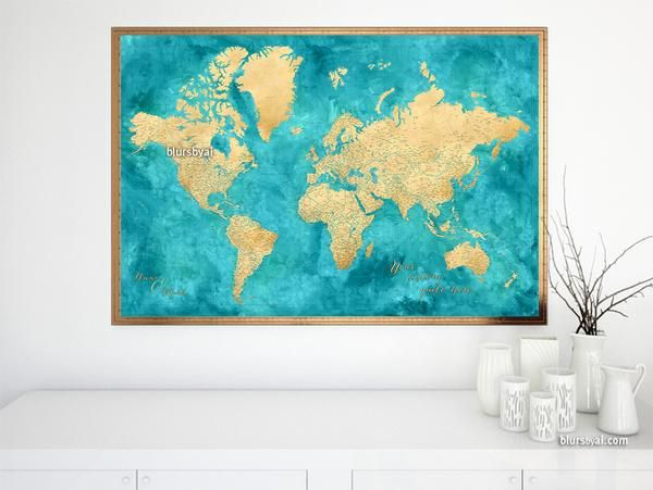 Mejores 12 imgenes de large and highly detailed world map prints personalized world map print highly detailed map with cities in teal and gold gumiabroncs Gallery