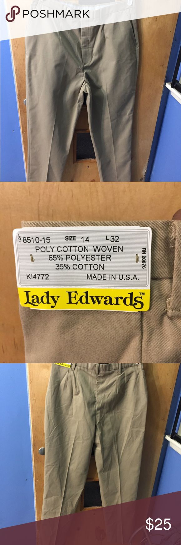 "Lady Edwards Uniform work Tan pants size 14 65% Polyester/35% Cotton; 7.5/8.0 oz.wt. Casual chino blend pant Flat front, button closure and brass zipper Two front and one back pocket Tall sizes available Moisture wicking fabric Soil and wrinkle resistant Industrial launder or machine washable  -size 14 -measurements 17"" laying flat -32"" long Lady Edwards Pants Trousers"