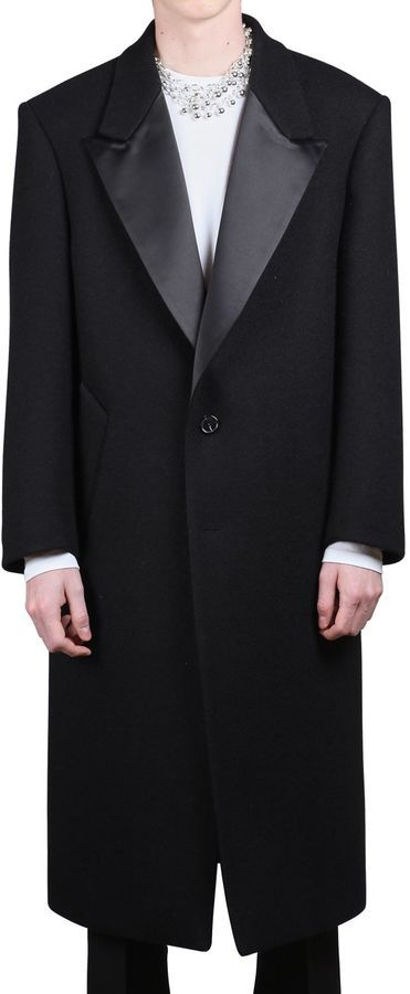 Raf Simons Long Wool Coat W/ Satin Lapels