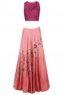 Maroon Crossover Crop Top with Dusty Rose Ombre Shaded Skirt #kanishkajaipur #shopnow #ppus #happyshopping
