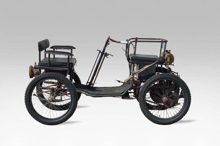 c1899 BRUNEAU Quadricycle à moteur De Dion Bouton n° 1003 A immatriculer en collection Eligible au Londres-Brighton (London-to-Brighton Veteran Car Run) Bruneau était un fabriquant de Tours, plus connu… - Osenat - 14/06/2015