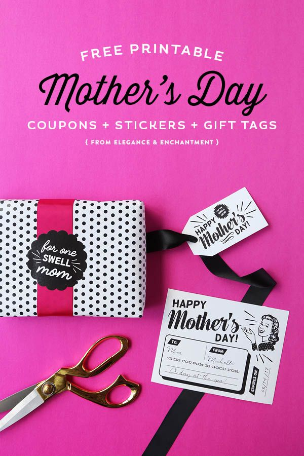 Celebrate Mother's Day with these free printable, retro-styled coupons, gift tags and stickers! All designs are compatible with Avery products for easy printing. Designs by Elegance & Enchantment.