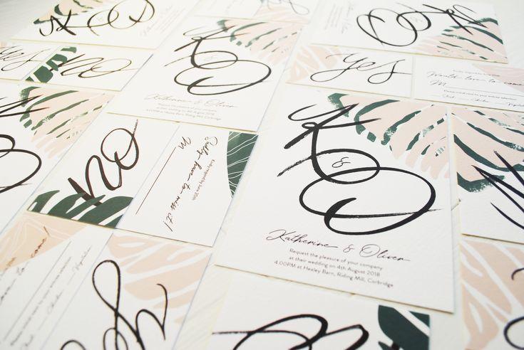 Modern wedding invititations, palm leaf print, hand brush lettering, modern bride, blush pink and pine green