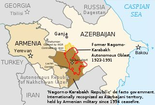 Map of Nagorno-Karabakh. Identifies the location of the Shahumian area which is claimed by NKR, but controlled by Azerbaijan. Uncluttered map focusing on the basics -- a few cities and borders for countries and regions.