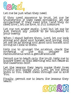 A Prayer for the First Day of School--- LOVE THIS ....... every teacher needs to say this each day !!!!