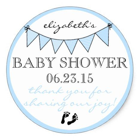 Blue Bunting Baby Footprints Shower Thank You Classic Round Sticker Everyone loves stickers both children and adults. How about stickers that can be personalized? Cool concept. #printable #stickers #etsy