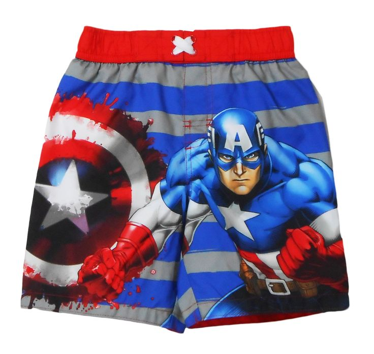 Marvel Captain America Toddler Boys Swim Trunk 4T. Officially Licensed Marvel Merchandise. 100% Polyester. UPF 50+ UV Protection; elastic waist for comfortable fit; decorative lace-up front. Interion Mesh brief; woven construction. Features Marvel Avengers Captain America.